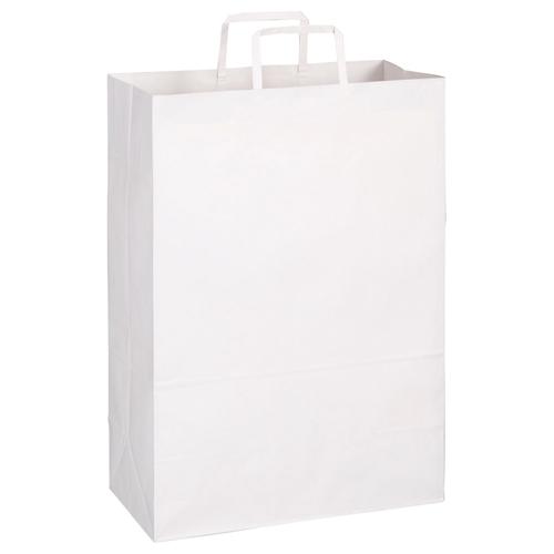 TANOSEE 紙手提袋 平紐 特大 ヨコ340×タテ480×マチ幅170mm 白無地 1パック(30枚)