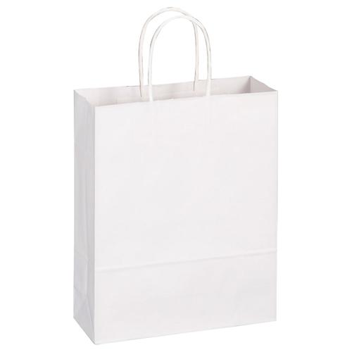 TANOSEE 紙手提袋 丸紐 小 ヨコ260×タテ320×マチ幅100mm 白無地 1パック(50枚)