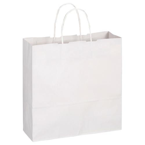 TANOSEE 紙手提袋 丸紐 中 ヨコ320×タテ320×マチ幅115mm 白無地 1パック(50枚)
