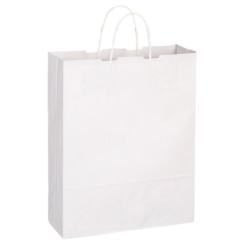 TANOSEE 紙手提袋 丸紐 大 ヨコ320×タテ400×マチ幅115mm 白無地 1パック(50枚)