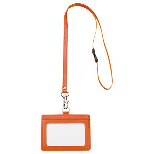 TANOSEE 合皮製ネームカードホルダー ヨコ型 ストラップ付 オレンジ 1個