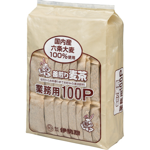 伊勢惣 釜煎り麦茶 業務用 1袋(100バッグ)