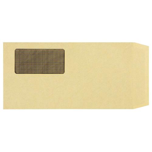 TANOSEE 窓付封筒 裏地紋付 ワンタッチテープ付 長3 70g/m2 クラフト 1パック(100枚)