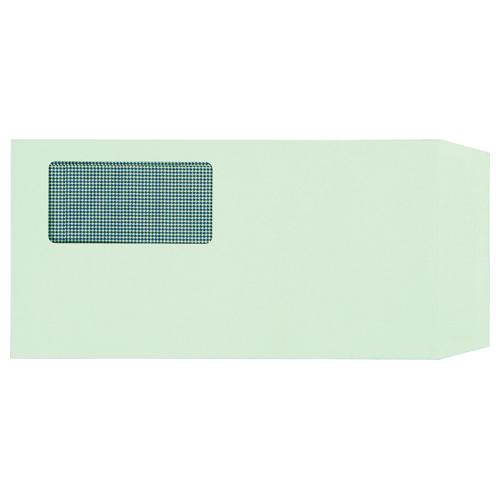TANOSEE 窓付封筒 裏地紋付 ワンタッチテープ付 長3 80g/m2 グリーン 1パック(100枚)