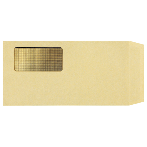 TANOSEE 窓付封筒 裏地紋付 ワンタッチテープ付 長3 70g/m2 クラフト 業務用パック 1箱(1000枚)