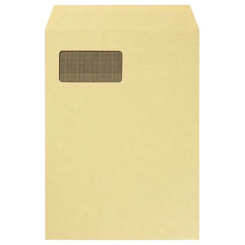 TANOSEE A4窓付クラフト封筒 テープのりなし 裏地紋付 1パック(100枚)