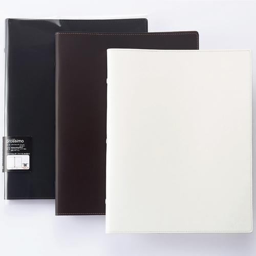 プロッシモ リサイクルレザーファイル A4タテ 30穴 10枚収容 背幅20mm ブラック PROR30A4BK 1冊