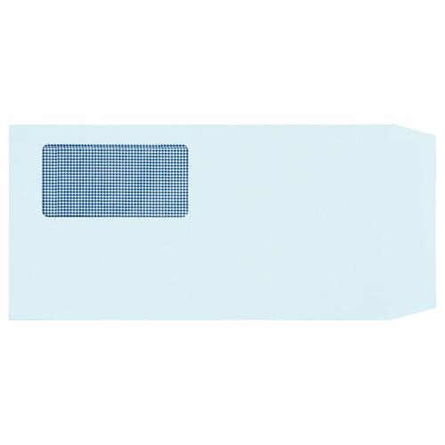 TANOSEE 窓付封筒 裏地紋付 ワンタッチテープ付 長3 80g/m2 ブルー 業務用パック 1箱(1000枚)