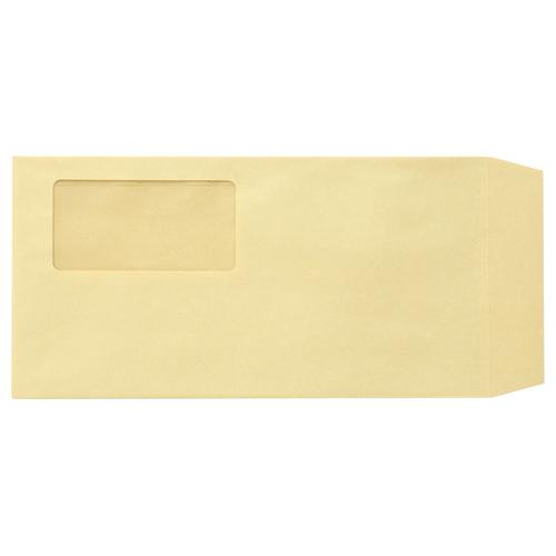 TANOSEE 窓付封筒 ワンタッチテープ付 長3 70g/m2 クラフト 1パック(100枚)