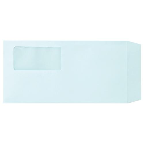 TANOSEE 窓付封筒 ワンタッチテープ付 長3 80g/m2 ブルー 1パック(100枚)