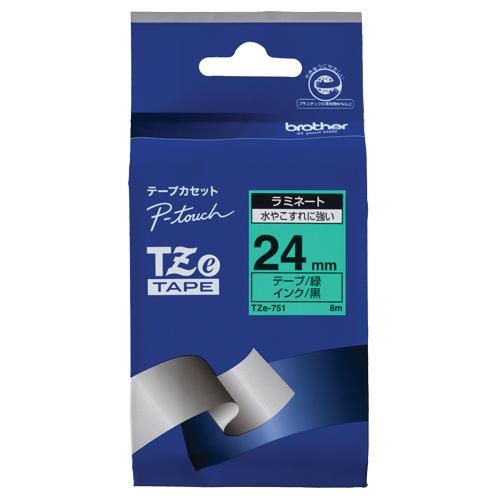 ブラザー ピータッチ TZeテープ ラミネートテープ 24mm 緑/黒文字 TZE-751 1個