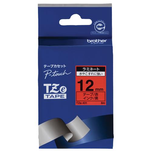 ブラザー ピータッチ TZeテープ ラミネートテープ 12mm 赤/黒文字 TZE-431 1個