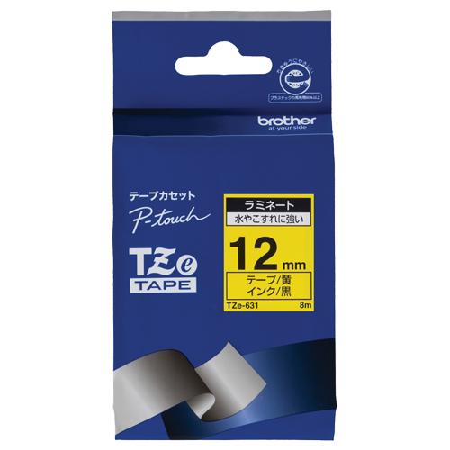 ブラザー ピータッチ TZeテープ ラミネートテープ 12mm 黄/黒文字 TZE-631 1個
