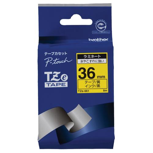 ブラザー ピータッチ TZeテープ ラミネートテープ 36mm 黄/黒文字 TZE-661 1個