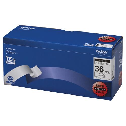 ブラザー ピータッチ TZeテープ ラミネートテープ 36mm 白/黒文字 業務用パック TZE-261V 1パック(5個)