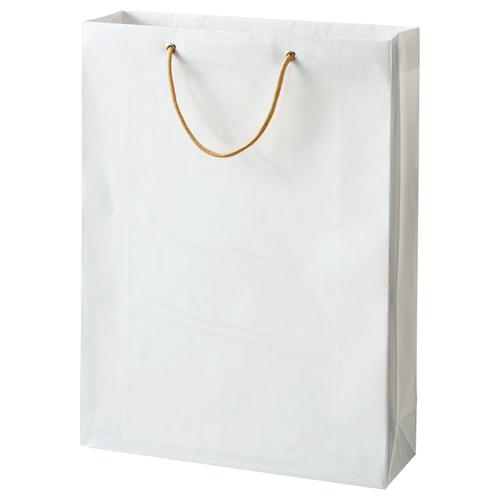 TANOSEE ビニールカバー付手提袋 L ヨコ380×タテ510×マチ幅120mm 白無地 1パック(10枚)