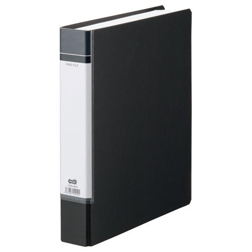TANOSEE Oリングファイル(貼り表紙) A4タテ 2穴 330枚収容 背幅53mm 黒 1冊