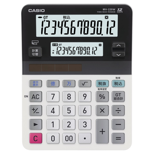 カシオ ツイン液晶電卓 ミエ2くん 12桁+12桁 ミニジャストタイプ MV-220W-N 1台