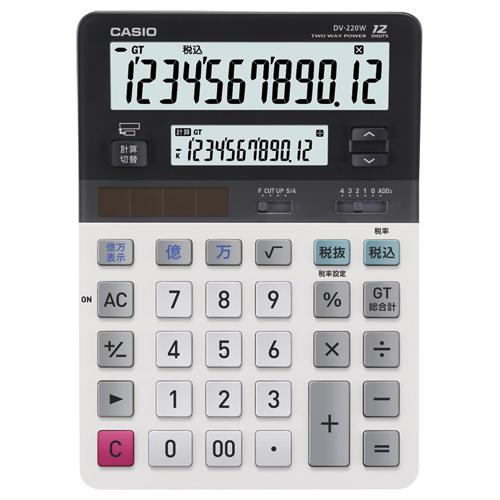カシオ ツイン液晶電卓 ミエ2くん 12桁+12桁 デスクタイプ DV-220W-N 1台