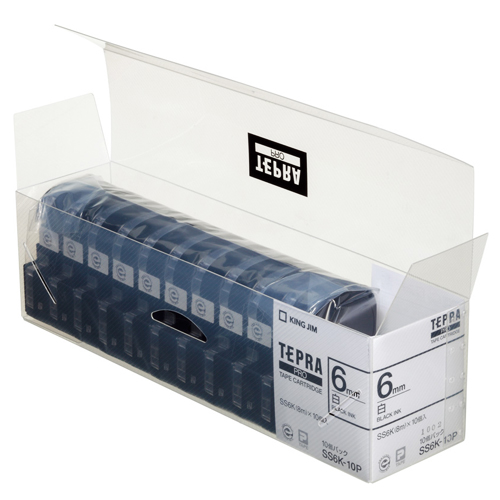 キングジム テプラ PRO テープカートリッジ 6mm 白/黒文字 業務用パック SS6K-10P 1セット(30個:10個×3パック)