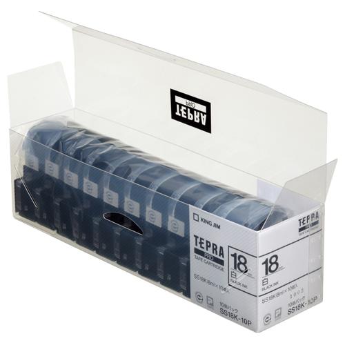 キングジム テプラ PRO テープカートリッジ 18mm 白/黒文字 業務用パック SS18K-10P 1セット(30個:10個×3パック)
