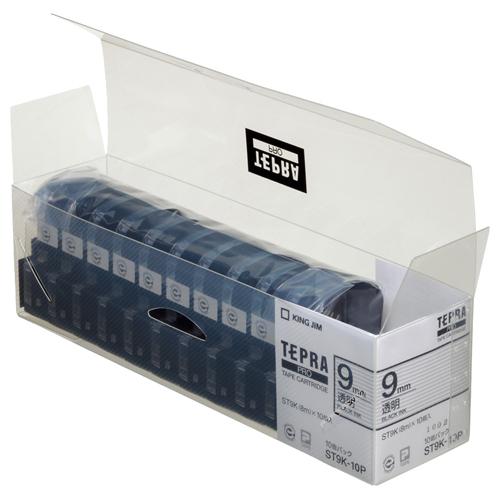 キングジム テプラ PRO テープカートリッジ 9mm 透明/黒文字 業務用パック ST9K-10P 1セット(30個:10個×3パック)