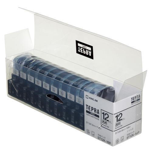 キングジム テプラ PRO テープカートリッジ 12mm 透明/黒文字 業務用パック ST12K-10P 1セット(30個:10個×3パック)