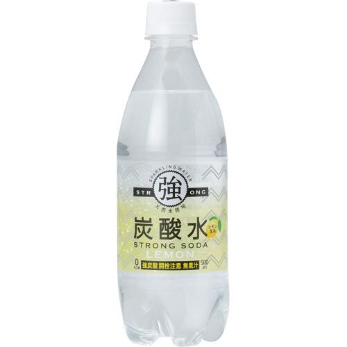 友桝飲料 強炭酸水レモン 500ml ペットボトル 1ケース(24本)