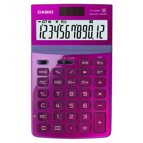カシオ デザイン電卓 12桁 ジャストタイプ ピンク JF-Z200-PK-N 1台