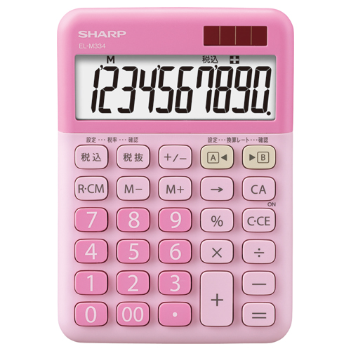 シャープ カラー・デザイン電卓 10桁 ミニナイスサイズタイプ ストロベリーチーズケーキ EL-M334-PX 1台