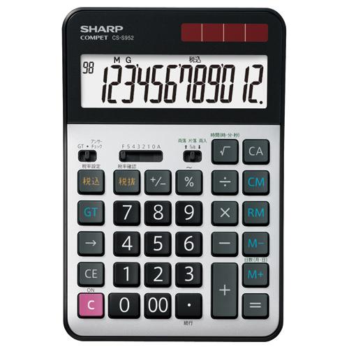 シャープ 実務電卓 12桁 セミデスクタイプ CS-S952-X 1台