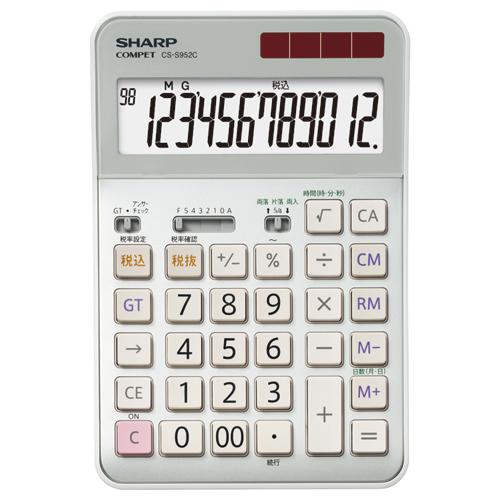 シャープ 実務電卓 12桁 セミデスクタイプ CS-S952-CX 1台