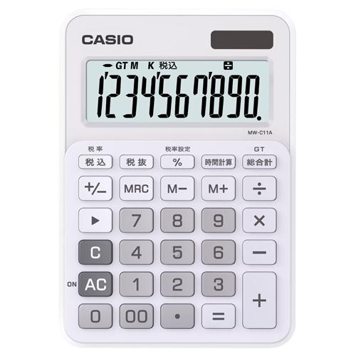 カシオ カラフル電卓 10桁 ミニジャストタイプ ピュアホワイト MW-C11A-WE-N 1台