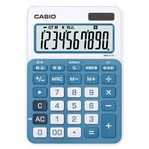 カシオ カラフル電卓 10桁 ミニジャストタイプ レイクブルー MW-C11A-BU-N 1台