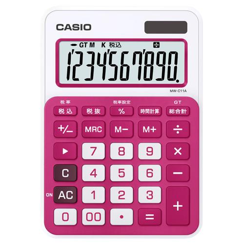 カシオ カラフル電卓 10桁 ミニジャストタイプ ルージュピンク MW-C11A-RD-N 1台