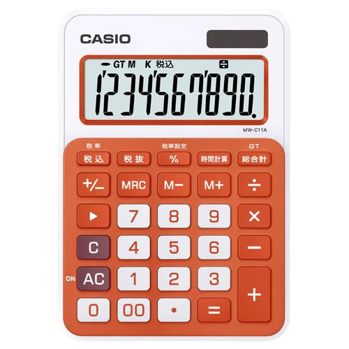 カシオ カラフル電卓 10桁 ミニジャストタイプ フレッシュオレンジ MW-C11A-RG-N 1台