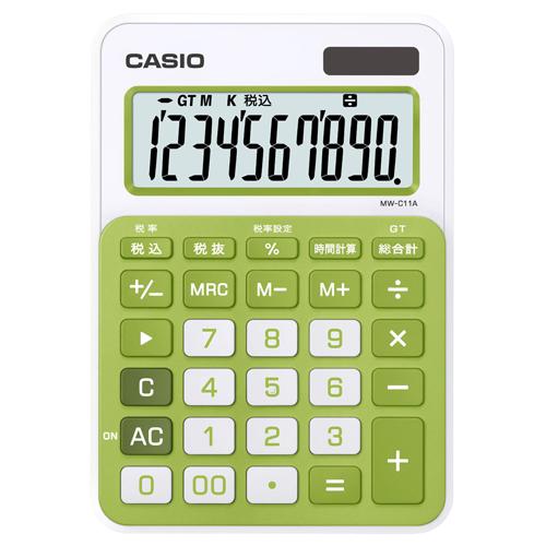 カシオ カラフル電卓 10桁 ミニジャストタイプ シトラスグリーン MW-C11A-GN-N 1台