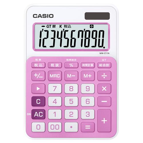 カシオ カラフル電卓 10桁 ミニジャストタイプ ベイビーピンク MW-C11A-PK-N 1台
