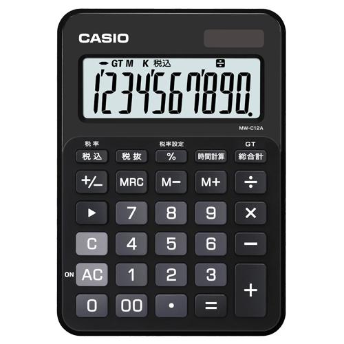 カシオ カラフル電卓 10桁 ミニジャストタイプ スマートブラック MW-C12A-BK-N 1台