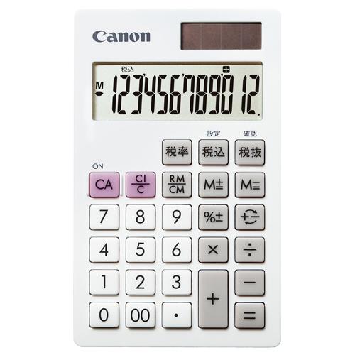 キヤノン 電卓 LS-12T 12桁 手帳サイズ ホワイト 7427B002 1台