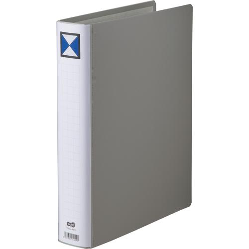 TANOSEE 両開きパイプ式ファイル A4タテ 400枚収容 40mmとじ 背幅56mm グレー 1冊