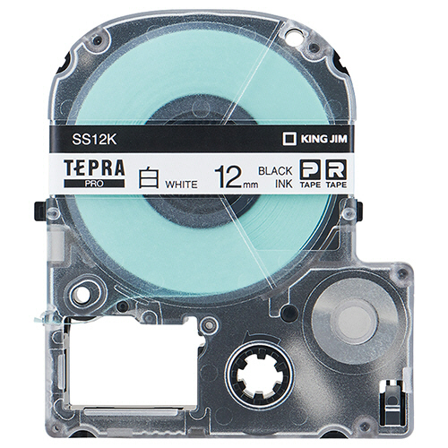 キングジム テプラ PRO テープカートリッジ 12mm 白/黒文字 エコパック SS12K-10PN 1セット(30個:10個×3パック)
