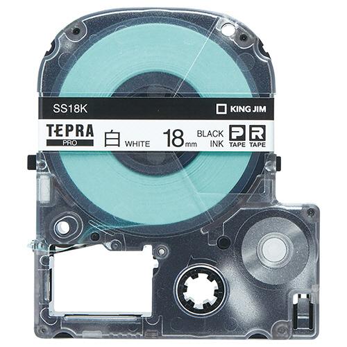 キングジム テプラ PRO テープカートリッジ 18mm 白/黒文字 エコパック SS18K-10PN 1セット(30個:10個×3パック)