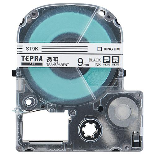 キングジム テプラ PRO テープカートリッジ 9mm 透明/黒文字 エコパック ST9K-10PN 1セット(30個:10個×3パック)