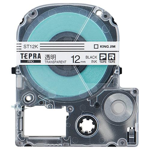 キングジム テプラ PRO テープカートリッジ 12mm 透明/黒文字 エコパック ST12K-10PN 1セット(30個:10個×3パック)