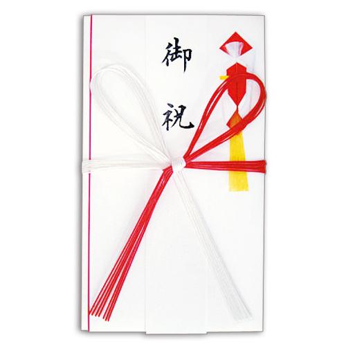 赤白7本 花結 金封 高級和紙 短冊付 NO.2653 1セット(10枚)