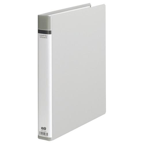 TANOSEE クリヤーファイル(貼り表紙) A4タテ 30穴 25ポケット付属 背幅42mm グレー 1セット(10冊)