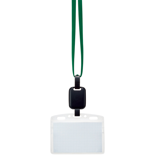 吊り下げ名札セット(リール式・ソフトケース・チャック式) 緑 1セット(30個:10個×3パック)