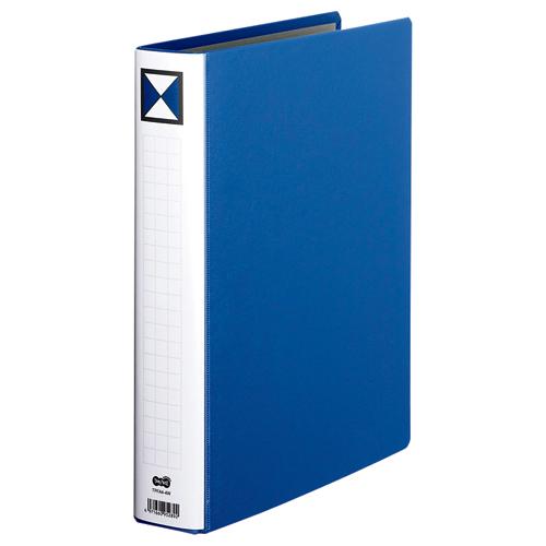 TANOSEE 両開きパイプ式ファイル A4タテ 400枚収容 40mmとじ 背幅56mm 青 1セット(10冊)