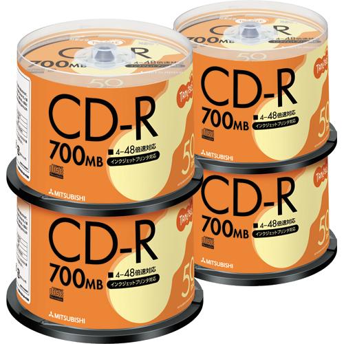 TANOSEE データ用CD-R 700MB 48倍速 ホワイトプリンタブル スピンドルケース SR80FP50T 1セット(200枚:50枚×4パック)